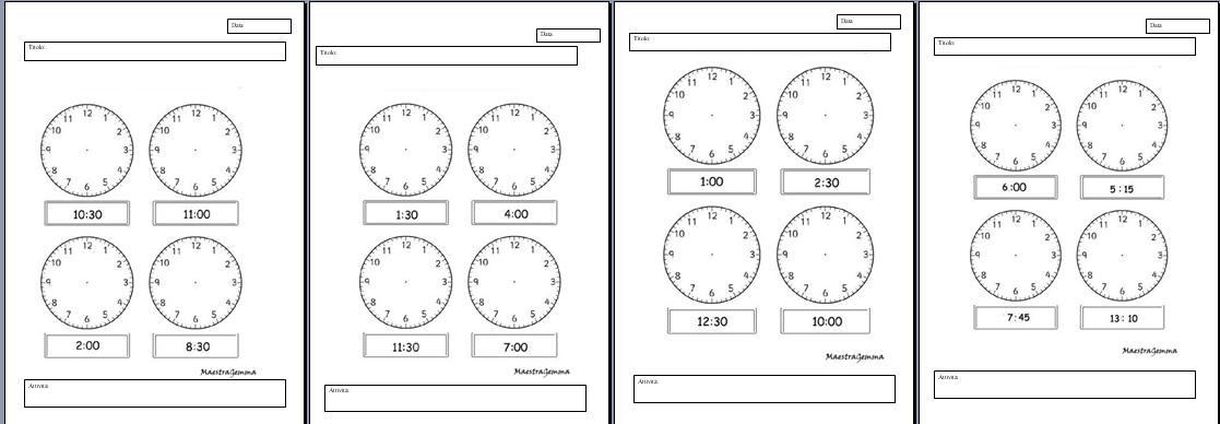 schede didattiche orologio